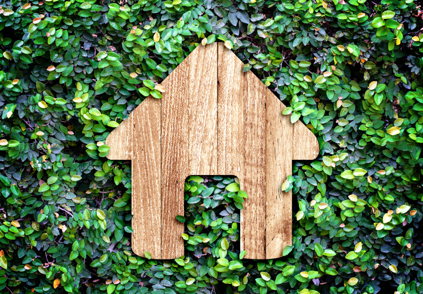 Home icon on green leaves wall,Eco home system